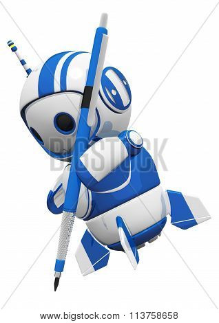 3D Cute Blue Robot With Drafting Pencil Drawing