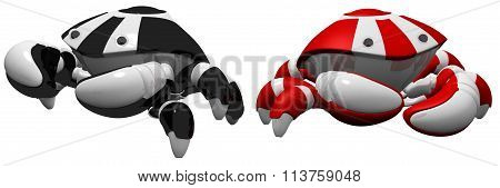 Red And Black Scutter Robots Side By Side