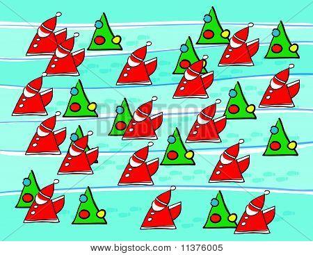 Santas And Christmas Trees