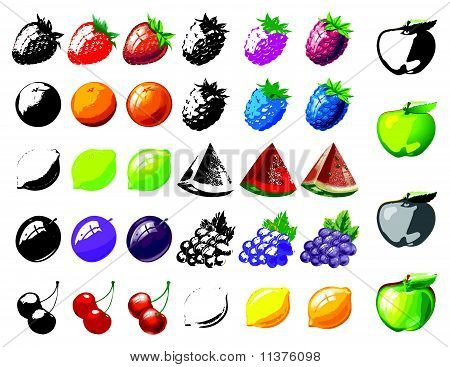 fruits collection against white