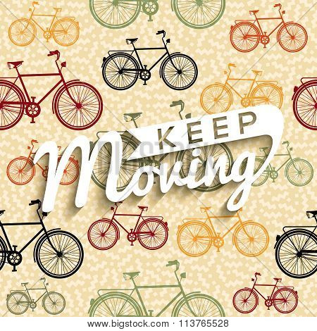 Bike Typography Poster Bicycle Concept Text Retro