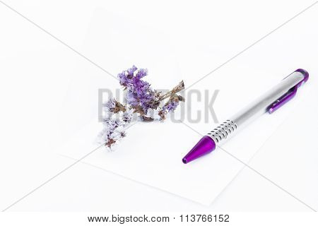 Envelope With Pen Isolated On White Background
