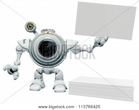 Robot Web Cam Holding Business Card.