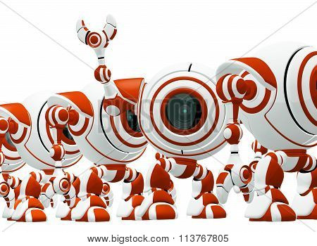 Line of Red Robots, One Waving Hi