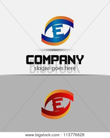 Eye logo element with letter E icons