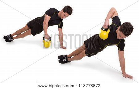 Kettlebell, Side Plank Row, Exercise