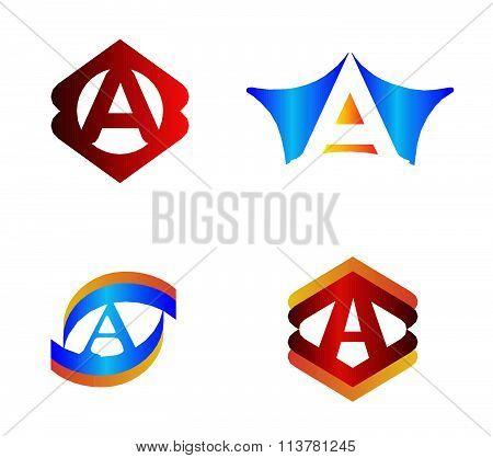Letter A set Alphabetical Logo Design Concepts