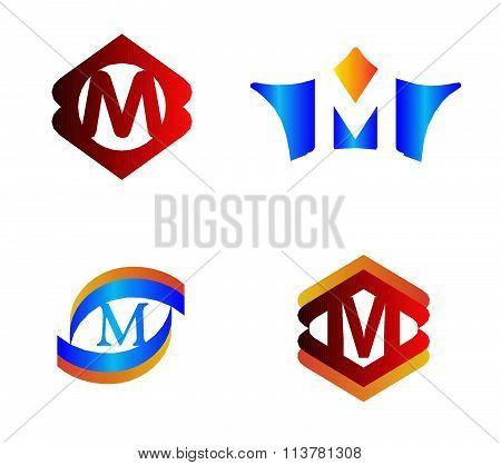 Letter M set Alphabetical Logo Design Concepts