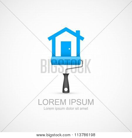Paint roller with blue house symbol icon