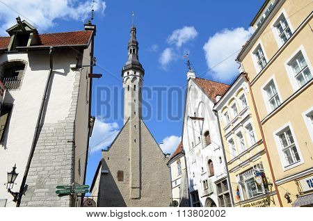 Tallin , Estonia. 24 August 2015- Tourist View Of Old Town Architecture In Tallinn, Estonia
