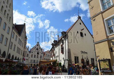 Picture of a TALLIN ESTONIA. 24 AUGUST 2015- Tourist view of Old Town architecture in Tallinn Estonia