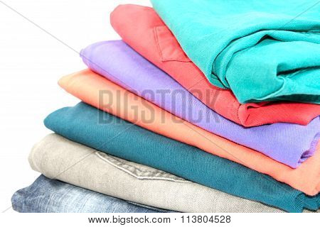 Colorful folded jeans