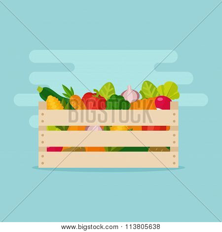 Vegetables In A Box Vector Illustration