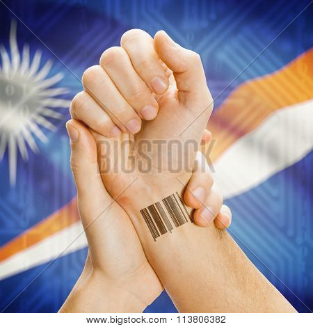 Barcode Id Number On Wrist And National Flag On Background - Marshall Islands