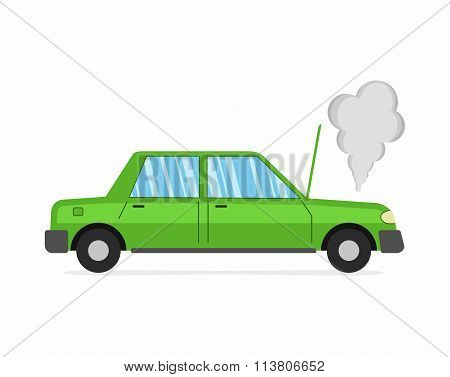 Car crash and accident on white background, auto broke down.
