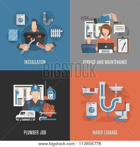 Plumbing service 4 flat icons square