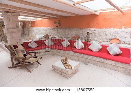 Interior of the hotel made from salt bricks