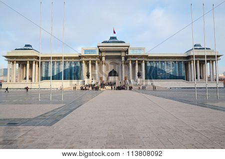 Ulaanbaatar, MN-Dec,03 2015:Palace Of The Government Of Mongolia On Sukhbaatar Square In Ulaanbaatar