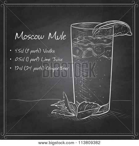 Cocktail Moscow Mule on black board