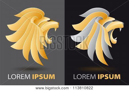 Bellowing Lion Head Fancy, Luxurious Company Logo Concept