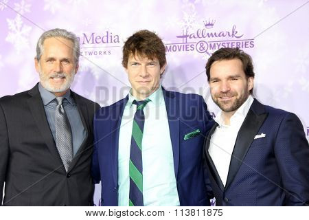 vLOS ANGELES - JAN 8:  Gerogry Harrison, Eric Mabius, Geoff Gustafson at the Hallmark Winter 2016 TCA Party at the Tournament House on January 8, 2016 in Pasadena, CA