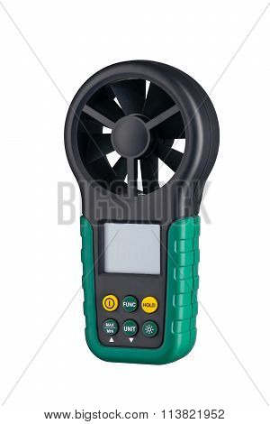 Digital Handheld Anemometer 3/4 View Isolated On White Background