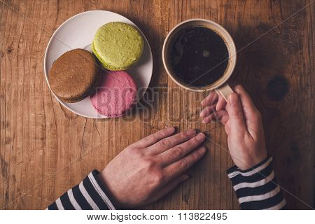 Macaron Cookies And Coffee In The Morning