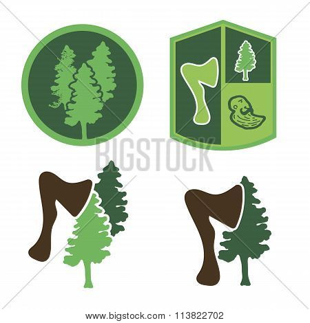 Green logo with wood, an ax, a forester