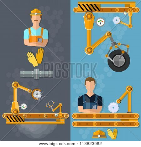 Conveyor Vertical Banners Assembly Of Motor Vehicles Industrial Robot Quality Control
