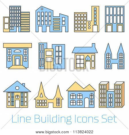 Colored line Building Icons Set