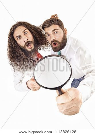 Two nerdy guys looking at the camera