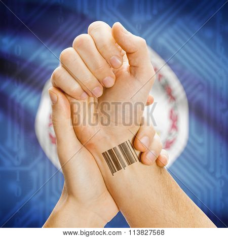 Barcode Id Number On Wrist And Usa States Flags On Background - Virginia