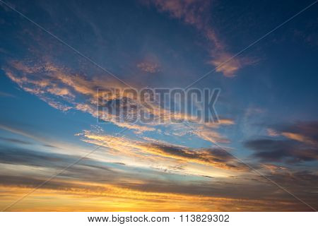 Beautiful Sunset With Dramatic Clouds.