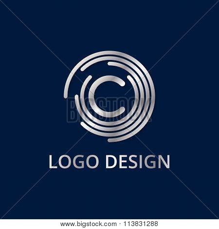 Stock logo letter c of silver. Vector illustration