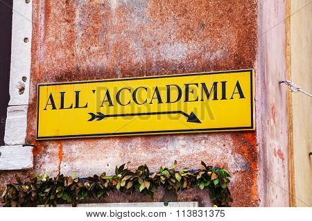All Accademia Direction Sign In Venice