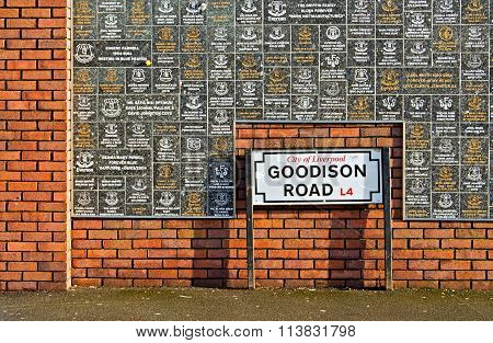 Liverpool Uk January 8Th 2016. Goodison Road Sign And Wall Of Fame At Goodison Park Stadium, Home Of