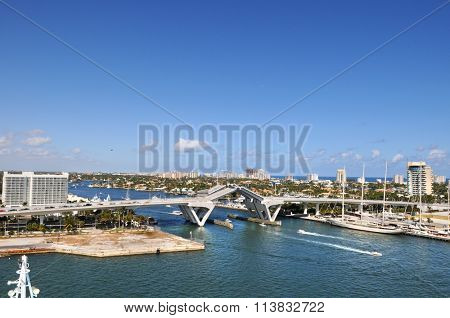 View of drawbridge in Fort Lauderdale during sunny day