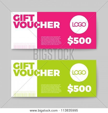 Set of gift (discount) voucher cards - green and pink minimalistic version