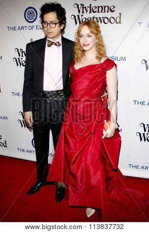 Geoffrey Arend and Christina Hendricks at the Art Of Elysium's 9th Annual Heaven Gala held at the 3LABS in Culver City, USA on January 9, 2016.