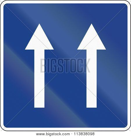 Road Sign Used In Spain - Two Lanes One-way Road