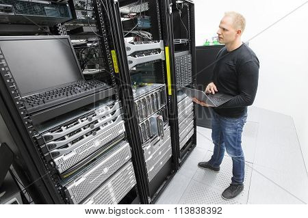 It engineer maintains servers in datacenter