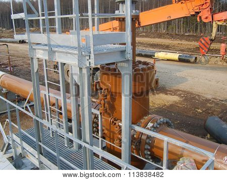 Platform of construction of pipelines. Booster pump station. poster