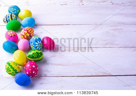 Row Of Multicolored Easter Eggs
