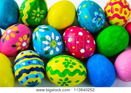 Easter Background Of Multicolored Easter Eggs