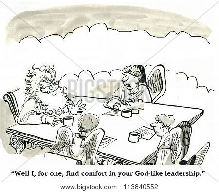 Business cartoon about leadership.  At least one businessman angel likes the God-like leadership. poster