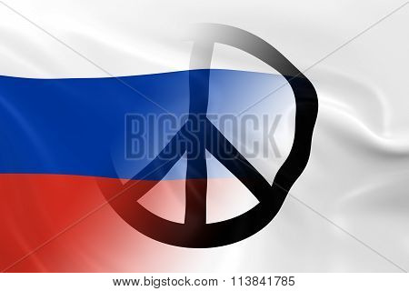 Peace in Russia Concept - Russian Flag overlaid on White Peace Flag - 3D Illustration