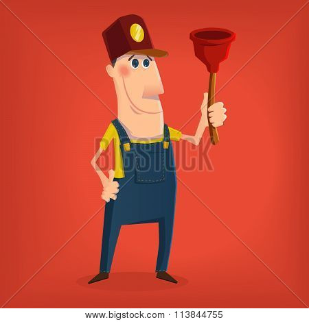 Hand drawn plumber character in cartoon style eps10 vector format poster