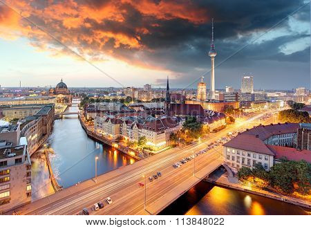 Berlin at dawn with a dramatic sky poster