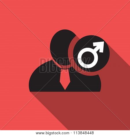 Male gender black man silhouette icon on the red vintage background long shadow flat design icon for forums or web poster