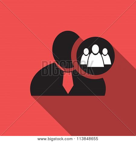 Referral Or Group Black Man Silhouette Icon On The Red Vintage Background, Long Shadow Flat Design I